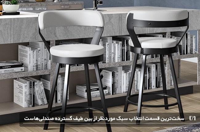 صندلی های اپن با رویه های سفید و چوب به رنگ تیره