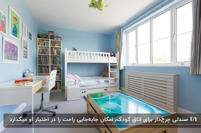 اتاق خواب پسرانه ای با تخت دو طبقه، قفسه های نردبانی برای کتاب و میز تحریر و صندلی چرخدار