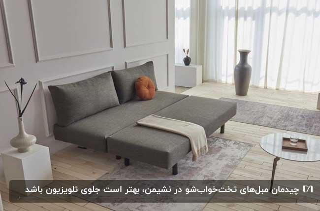 اصول چیدمان مبل تخت خواب شو خاکستری در نشیمنی با دیوارهای طوسی