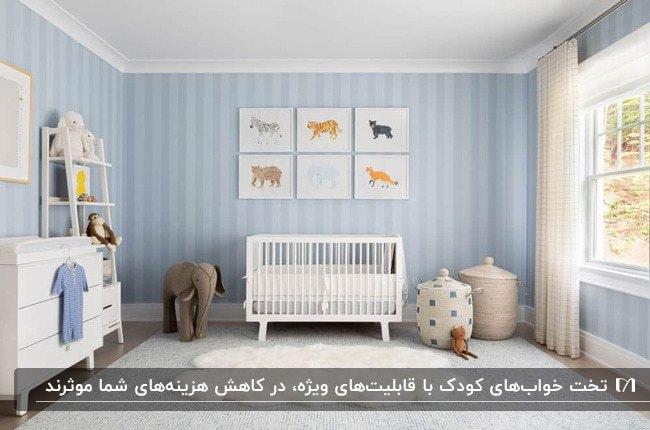 دکوراسیون اتاق یک کودک با کاغذدیواری طرحدار آبی روشن و سرویس خواب سفید