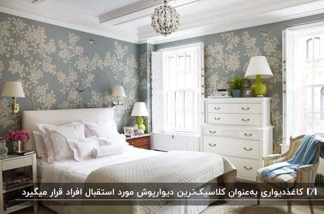 دکوراسیون اتاق خوابی با تخت، دراور و آباژورهای سفید و کاغذدیواری با زمینه آبی و گل های سفید