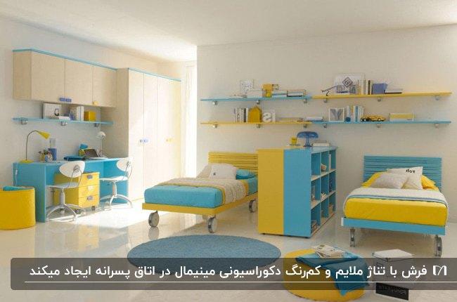 اتاق خواب پسرانه با دکوراسیون آبی روشن و زرد با فرش های سفید و آبی گرد