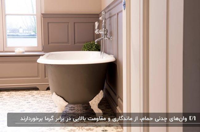 وان حمام بیضی شکل چدنی در سرویس بهداشتی کرم و قهوه ای