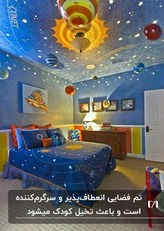 اتاق خواب پسرانه آبی رنگی با تم فضایی، تخت دو نفره و تابلوهای نقاشی روی دیوار