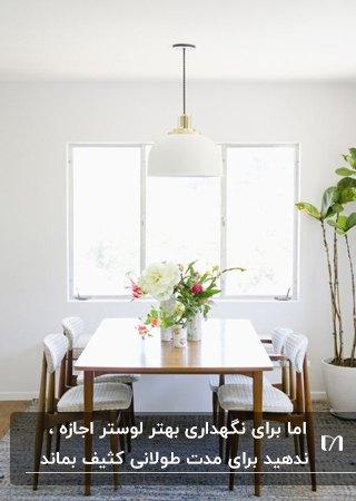 اتاق غذاخوری با میز و صندلی های غذاخوری با فریم چوبی و پارچه سفید به همراه لوستر گرد و آویز سفید
