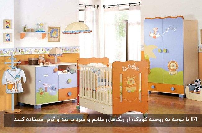 دکوراسیون یک اتاق کودک با کمد و سرویس خواب و دراور نارنجی و سبز و آبی