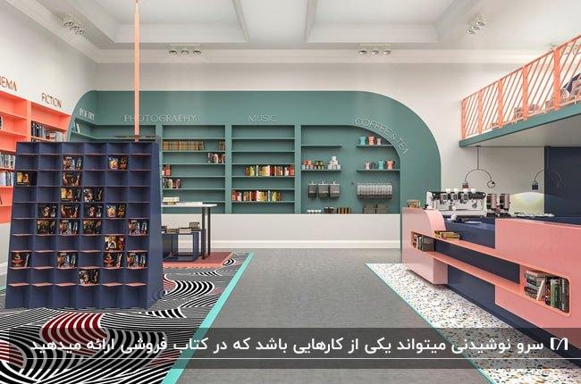 دکوراسیون داخلی کتاب فروشی ای با ترکیب رنگ های سبز، صورتی، آبی و نارنجی با بخش های مختلف