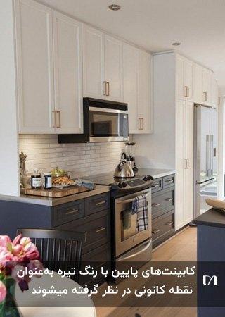 آشپزخانه کوچکی با کابینت دو رنگ سفید و آبی تیره