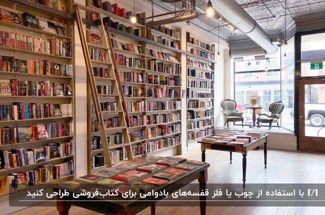 کتاب فروشی بزرگی با قفسه های چوبی ساده و میزهای مستطیلی قهوه ای تیره