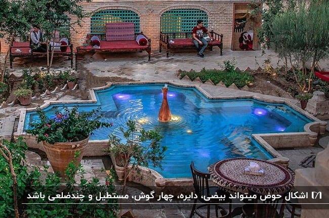 حیاط یک خانه سنتی با تخت های چوبی برای نشستن و حوضی آبی با طرح هندسی و فواره