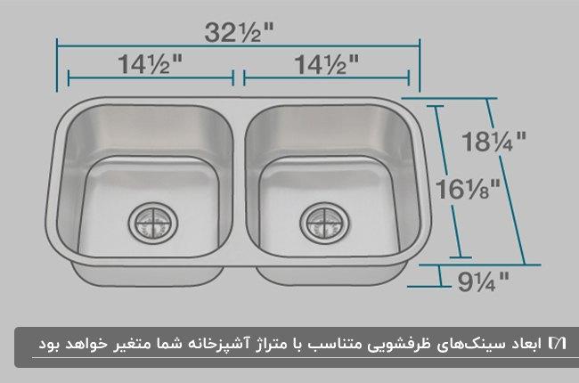 تصویر یک سینک دو لگنه با ابعاد و اندازه های استاندارد