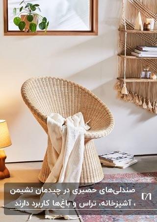 تصویر یک صندلی حصیری گرد و گود کنار آباژور و قفسه های چوبی روی دیوار