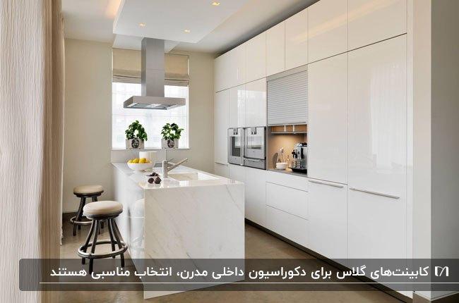 تصویر آشپزخانه ای مدرن با کابینت و جریزه های گلاس سفید رنگ