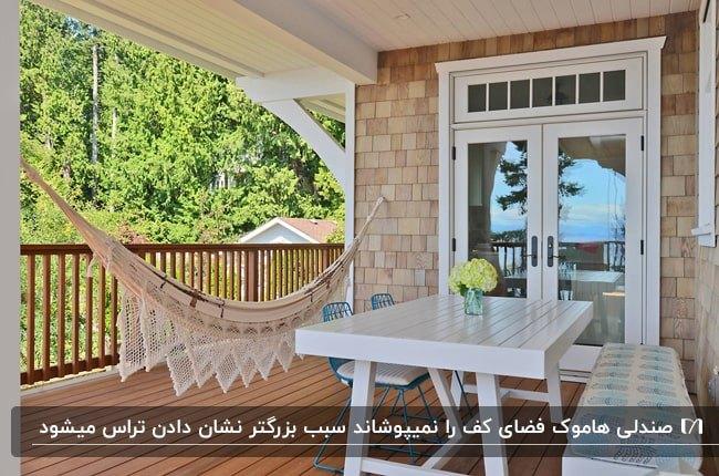 تراسی با میز و نیمکت سفید و دو صندلی آبی به همراه صندلی هاموک کرم رنگ