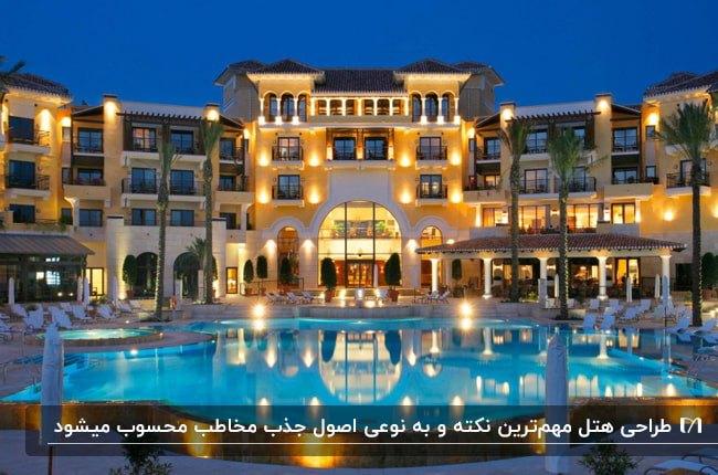 تصویری از نمای خارجی هتل بزرگ نورپردازی شده ای با استخر و درختان نخل