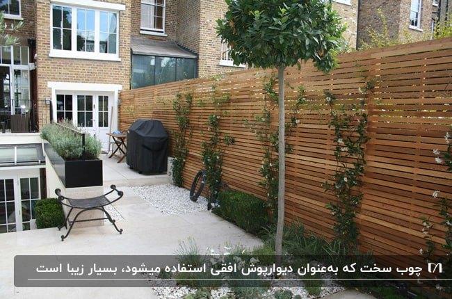 دیوارپوش چوبی افقی برای حیاطی با کفپوش سفید و درختچه های کوچک