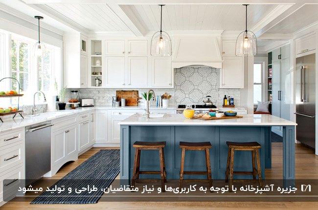 آشپزخانه ای با کابینت های سفید، جزیره آبی و صفحه رویی سفید با چهار پایه های چوبی و دو لوستر آویز