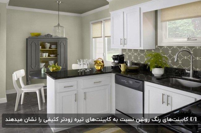 آشپزخانه کوچکی با کابینت های سفید و صفحه رویی مشکی با کاشی بین کابینتی طرحدار