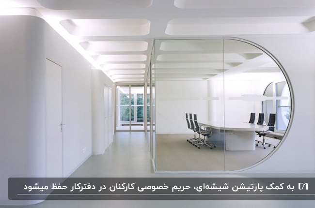 طراحی دفتر کار با استفاده از پارتیشن شیشه ای برای محصور کردن اتاق جلسه