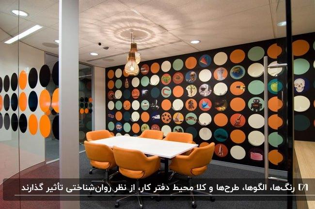 اتاق جلسه ای در یک اداره با میز سفید و صندلی های نارنجی و کاغذدیواری طرحدار مشکی و نارنجی و سفید