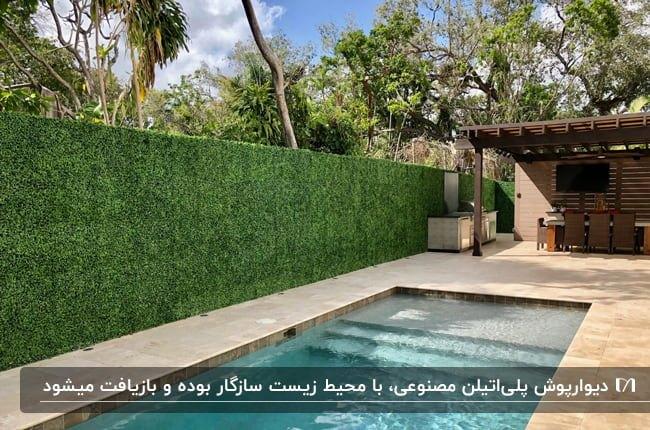 دیوارپوش پلی اتیلن گیاه مصنوعی در حیاطی با استخر مستطیلی