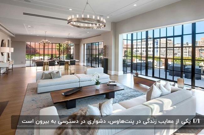 طراحی داخلی پنتهاوسی با مبلمان شیری رنگ و لوستر دایره ای مقابل دیوار شیشه ای پنجره ای