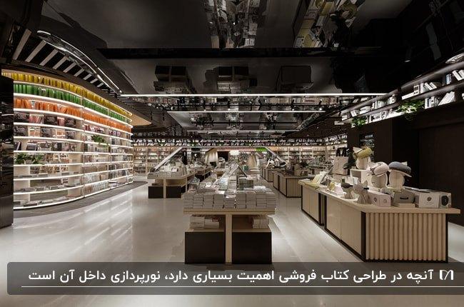 دکوراسیون داخلی کتاب فروشی ای با سقف مشکی و قفسه های بند نورپردازی شده