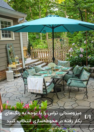 تراسی با میز و صندلی های مشکی با تشکچه های آبی روشن و سایبان چتری سبزآبی