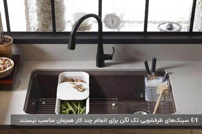 تصویر سینک تک لگنه با شیرآلات مشکی و صفحه رویی کابینت طوسی