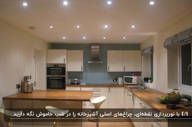 آشپزخانه ای با کابینت های کرم، صفحه رویی کابینت قهوه ای، دیوار آبی و نورپردازی نقطه ای سقف
