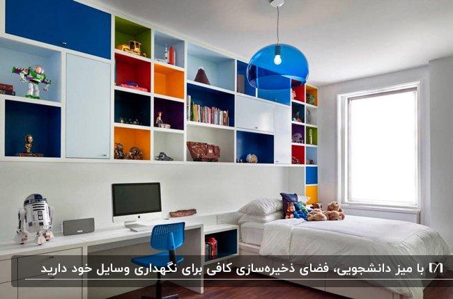 دکوراسیون یک اتاق پسرانه با تخت سفید، قفسه های رنگی و میز دانشجویی سفید رنگ