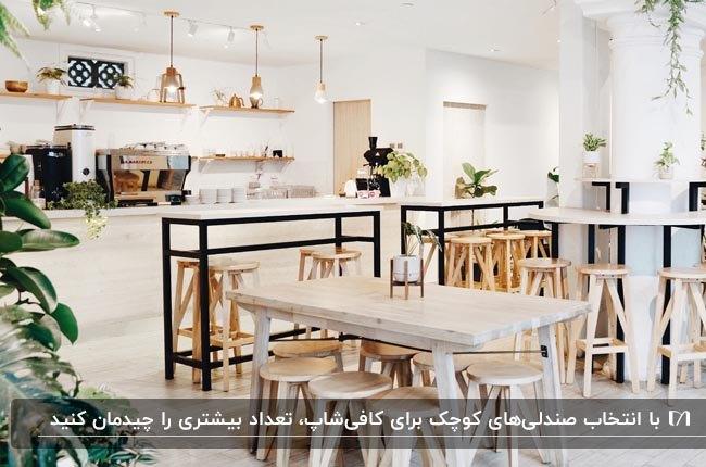 دکوراسیون داخلی کافیشاپ کوچکی با میزهای مستطیلی و چهارپایه های گرد چوبی