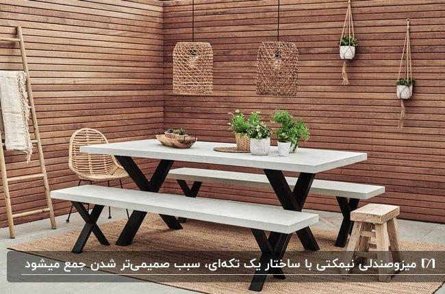 میز و نیمکت های سفید با پایه مشکی در تراسی با دیوارپوش های چوبی