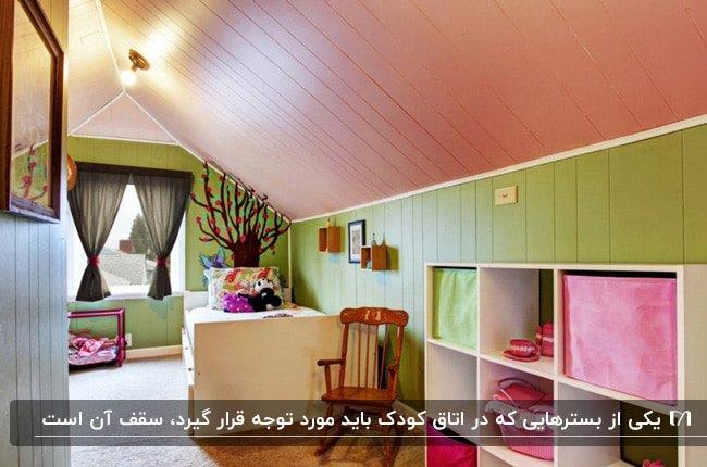 تصویر دکوراسیون اتاق یک کودک به رنگ صورتی و سبز با سقف شیب دار و چراغ های سقفی