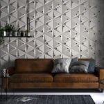 نشیمنی با دیوارپوش سه بعدی کرم با دایره های مشکی و مبل چرم قهوه ای