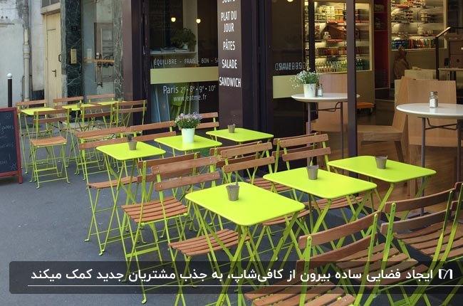 فضای بیرونی کافیشاپی با میزهای مربعی زرد و صندلی های تاشوی چوبی