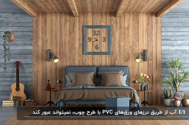 اتاق خوابی مبلمان چرم خاکستری و قهوه ای با دیوارپوش پی وی سی چوبی