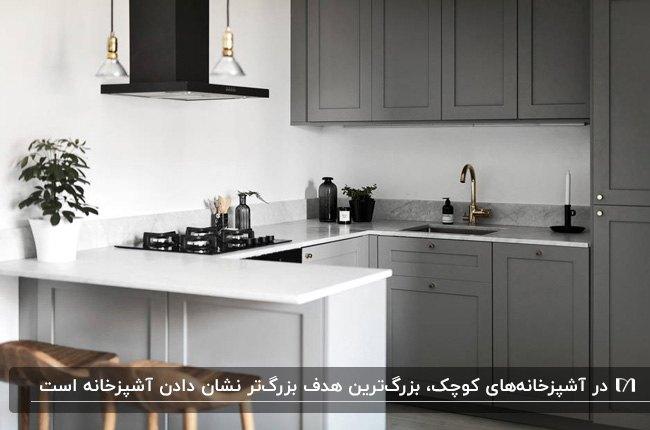 آشپزخانه ای کوچک با کابینت های دو رنگ خاکستری و سفید و هود و گاز مشکی