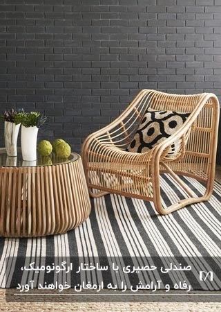 تصویر یک صندلی و میز عسلی حصیری با ساختار ارگونومیک روی فرش راه راه کرم و زغالی