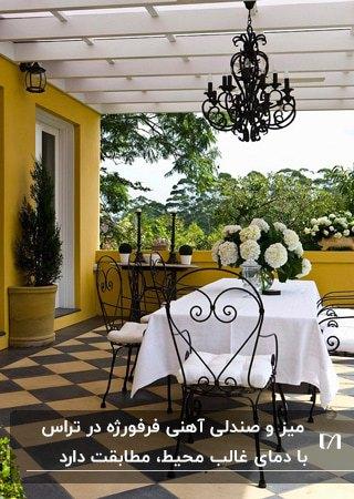 تراس خانه ای با دیوارهای زرد رنگ و میز و صندلی های فرفورژه مشکی