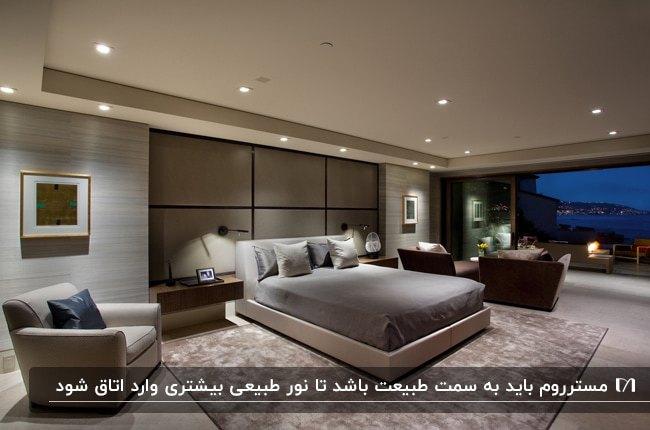 تصویر یک مستر روم مدرن با تخت و صندلی طوسی و کرم، مبلمان قهوه ای و دیواری شیشه ای