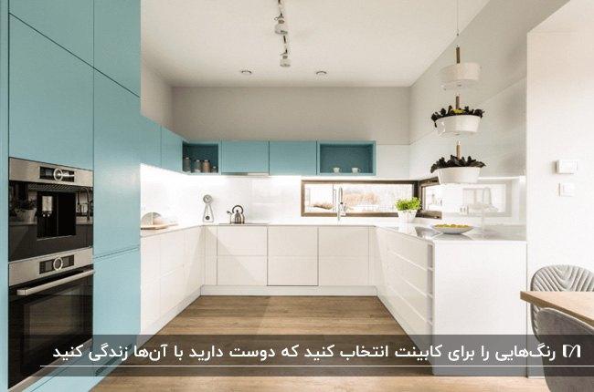 آشپزخانه کوچکی با کابینت های دو رنگ سفید و آبی و کفپوش چوبی