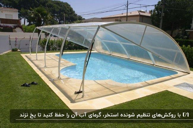 روکش استخر تنظیم شونده نیمه شفاف پایه دار برای استخر با شکل هندسی