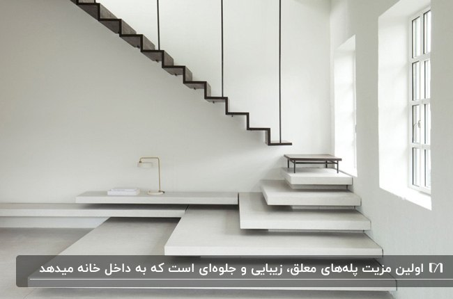 پله معلق مستقیم به رنگ سفید با حفاظ مشکی کنج خانه