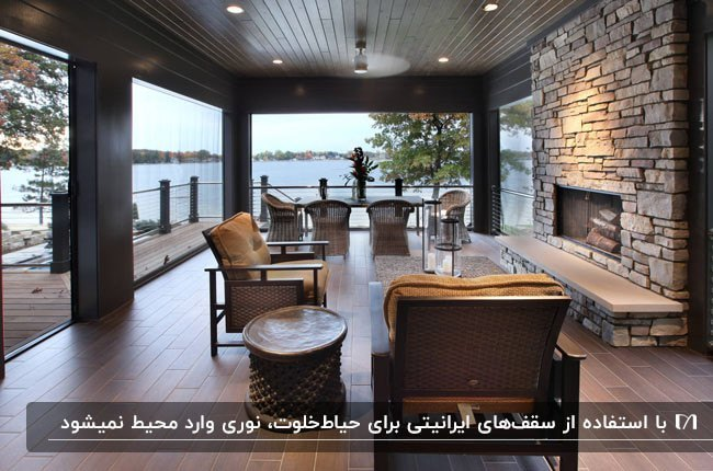 سقف ایرانیتی قهوه ای تیره به همراه هالوژن برای حیاط خلوت با مبلمان حصیری و شومینه هیزمی
