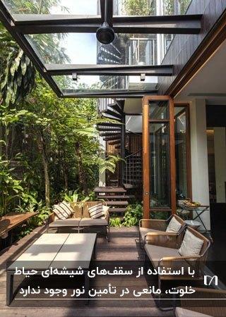 سقف شیشه ای برای حیاط خلوت با مبلمان قهوه ای در کنار گیاهان و درختان