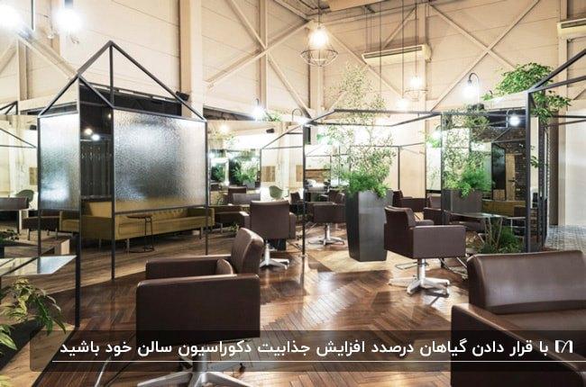 دکوراسیون آرایشگاهی با صندلی های قهوه ای تیره و گل ها و گیاهان بزرگ در محیط سالن