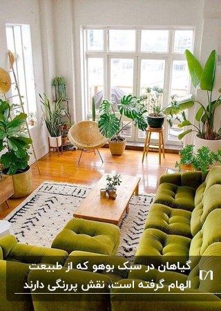 نشیمنی به سبک بوهو با مبل ال شکل سبز، فرش کرم و گلدان های گل کنار پنجره