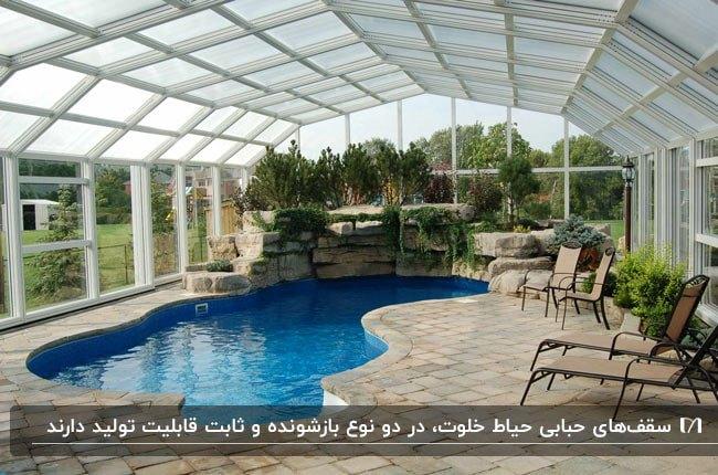 سقف حبابی استخر در حیاط خلوت ویلا با صندلی های راحتی استخری فریم فلزی مشکی