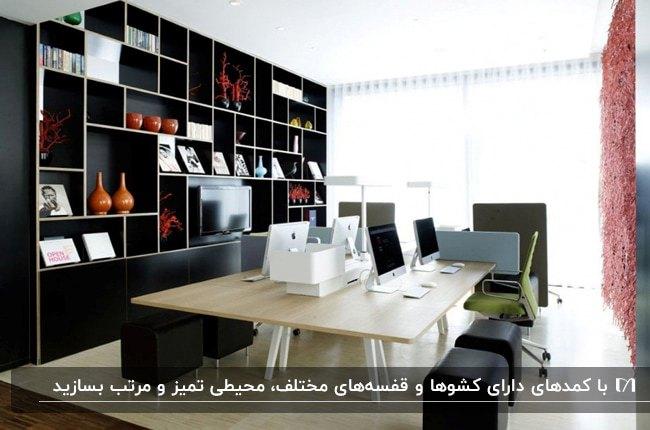 دفترکار کوچکی با قفسه، کمد و کشو های مشکی، میز چوبی روشن با پایه های سفید و پاف های مشکی